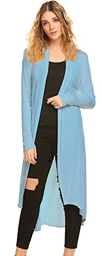 (POGTMM Women's Long Open Front Drape Lightweight Duster High Low Hem Maxi Long Sleeve Cardigan(S-3XL) (Light Blue, US XXL(20-22)))