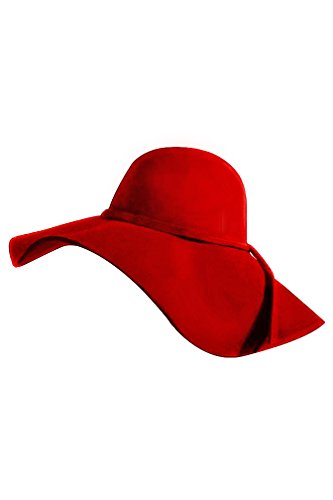 Carmen Sandiego Hat (Red Wide Brimmed Wool Floppy Hat)