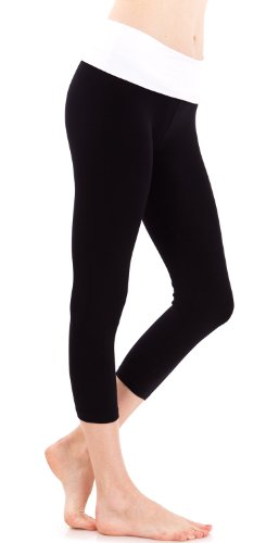 4ceacb0027 Hollywood Star Fashion Women's Slimming Foldover Capri Crop Yoga Pants