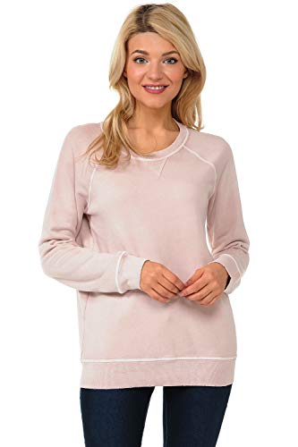 YURO-K Women's Pigment Dyed Cotton Long Sleeve Crew Neck Vintage Raglan Sweatshirt Pullover (Dust, Small)
