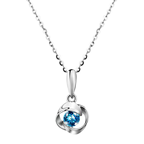 Carleen Solid 18K White Gold Flower Shape London Blue Topaz Pendant Necklace Women Girls, 18