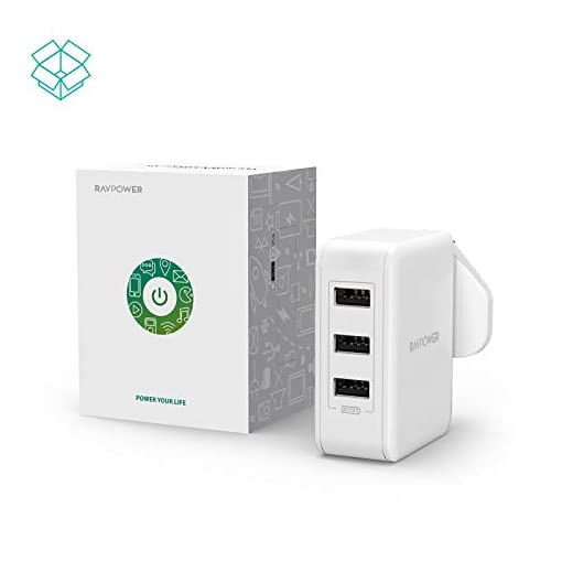 USB Plug Charger, RAVPower 30W USB Wall Chargers 3-Port Mains Adapter Plug Power Adapter for iPhone 11 Pro X Xr XS Max, Galaxy S Note 10+, iPad Pro 2018 – White