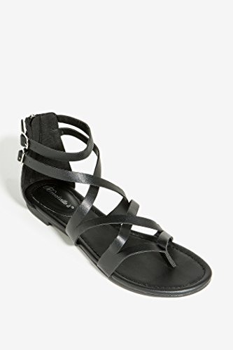 Breckelles RB65 Strappy Women's Gladiator Thong Flat Sandals- Casual Dress Low Flat Heel Black 5.5