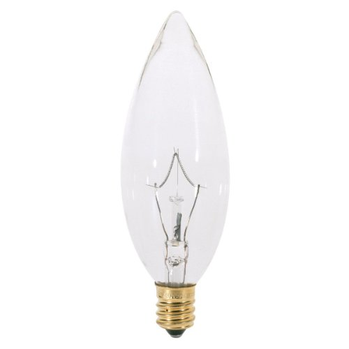 (25 Pack) Satco S3282 Torpedo Incandescent Light Bulb, 25 Watt, Clear