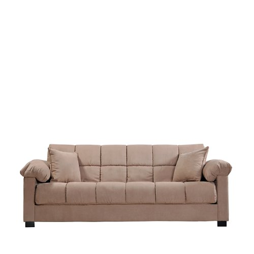 Handy Living Maurice Pillow Top Arm Convert-a-Couch in Mocha Microfiber