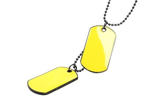 Janstore Unique Multi-color PLAIN Double DOG TAG Soldier brand necklace (Double Heart Pink Czs Ring)