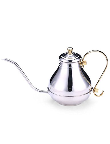 Cozyle Stainless Steel Teapot Coffee Kettle Thin Spout for Pour Over Coffee or Leaf Teas Silver 51oz