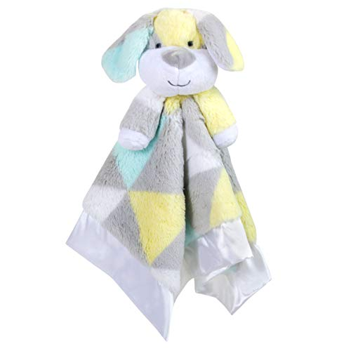 Minky Snuggle Blankets - Animal Character Loveys for Babies (Yellow/Blue)