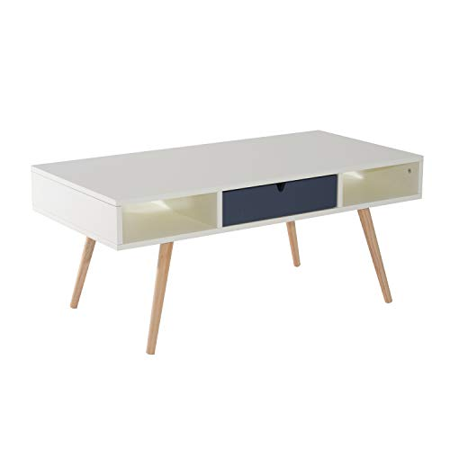 "HOMCOM 40"" Modern Wooden Coffee Table with Drawer - White/Blue Grey/Woodgrain"
