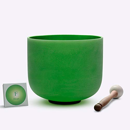 TOPFUND Singing Bowls Perfect Pitch F Note Crystal Singing Bowl Heart Chakra Green Color 8 inch (O-Ring and rubber mallet Included)