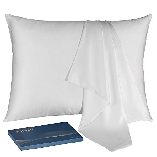 JJIMOO Natural Slip Silk Pillowcase,for Hair and Skin with Hidden Zipper,22 Momme,600 Thread Count 100% Mulberry Silk (Standard 20''×26'', White, 1 ()