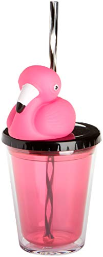 C.R. Gibson Black Acrylic Double Wall Tumbler Cup with Lid and Pink Flamingo Straw, 12 oz., 4'' W x 5'' -
