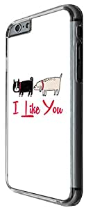 988 - Cool fun cute doodle best friends dogs pets quote i like you friendship love Design For iphone 6 6S 4.7'' Fashion Trend CASE Back COVER Plastic&Thin Metal -Clear
