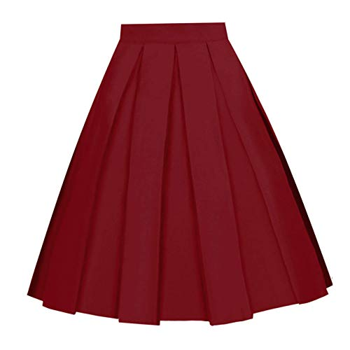 Girstunm Women's Pleated Vintage Skirt Floral Print A-line Midi Skirts with Pockets Burgundy ()