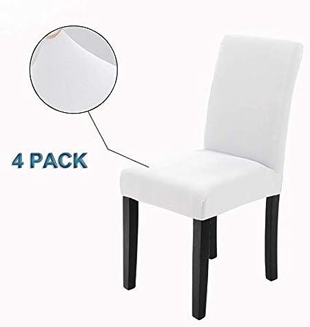 Veakii R Fundas para sillas Pack de 4 Fundas sillas Comedor, Lavable Comedor Asiento Cubre para el Comedor casero Modern Bouquet de la Boda, Hotel, Decor Restaurante (Blanco, Pack de 4): Amazon.es: