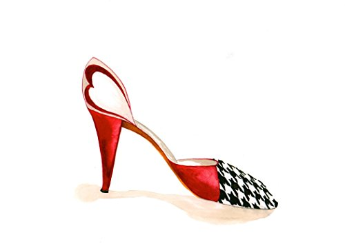 (Houndstooth and Crimson High Heel Giclee print, signed and numbered)