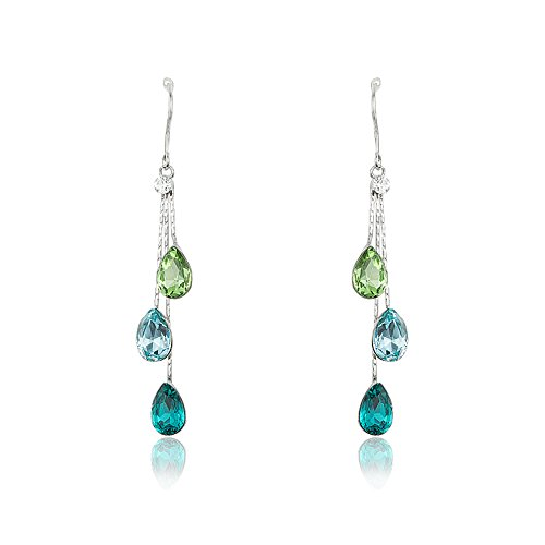 Teal Earrings for Women - Statement Chandeliers Crystal Drops - Mall of Style (Tantalizing Teal) ()