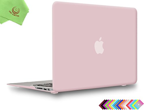 "Price comparison product image UESWILL Smooth Soft-Touch Matte Hard Shell Case Cover for MacBook Air 13"" (Model: A1466/A1369) + Microfibre Cleaning Cloth, Rose Quartz"