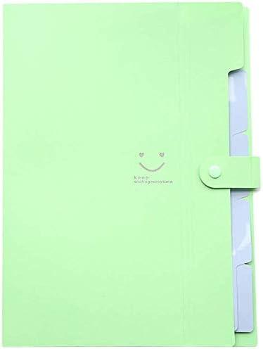 WZJN Ordner A4 Dokument neu Tasche Tasche Bill Ordner-Halter-Organisator Fastener Bürobedarf Document Organizer Binder carpetas Smiley Mehrschichtige (Color : Light Green)