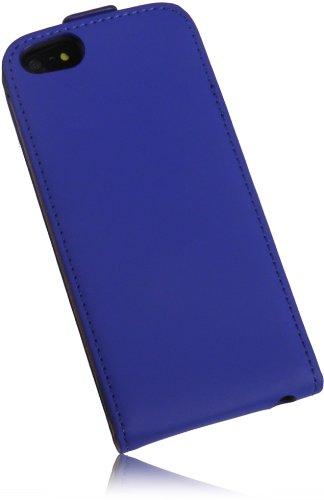 Für Apple Iphone 5 5S Ultra Dünn FlipCase Premium PU Leder Case Vertikaltasche Handytasche Flipstyle Schutzhülle mit integrierten DisplaySchutz in Slim Design in Blau