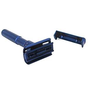 Adjustable Safety razor double edge razor Classic Safety razor, Matte blue coating.RZ700 (1 Razor, 1 Leather Protective Sleeve & 10 pcs Titanium Coated Blades)