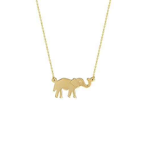 GOLD NECKLACE, 14KT GOLD E2W ADJUSTABLE . ELEPHANT NECKLACE by DiamondJewelryNY