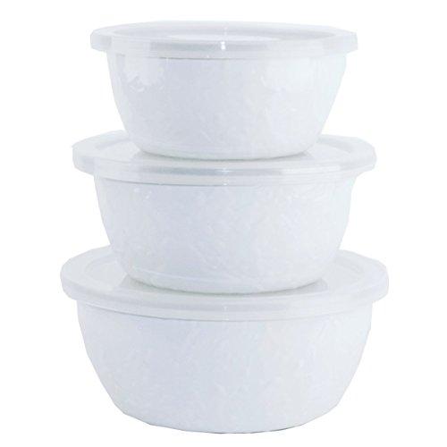 Enamelware - Nesting Bowls - White on White Texture Pattern ()