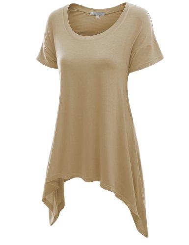 Doublju Womens Sleeve Longline Asymmetrical