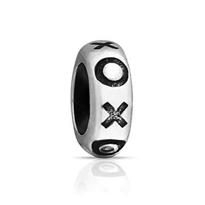 hot Bling Jewelry Rubber XOXO Hugs Kisses Stopper Bead Charm .925 Sterling Silver on sale