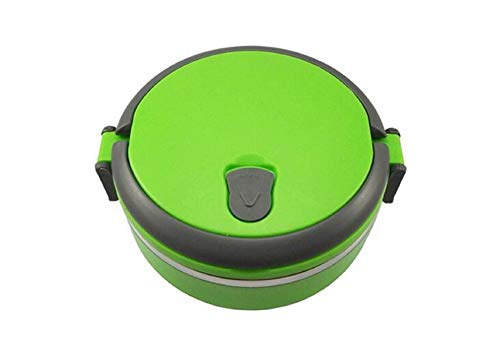 (Stainless Steel Insulation box Bento Meal Box Single Layers Outdoor Portable Food Containers Thermal Lunch (Green))