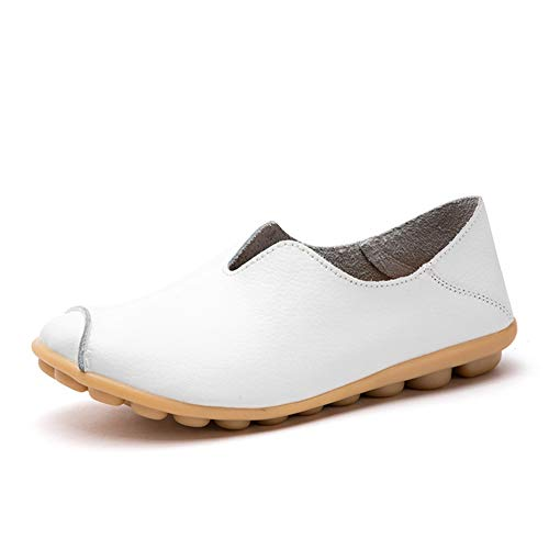 labato Women's Leather Loafers Casual Comfy Slip on Shoes Mocassins Flats Shoes Boat Shoes White