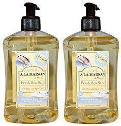 A La Maison de Provence Fresh Sea Salt Liquid Hand and Body Soap (Pack of 2) With Olive Oil, Coconut Oil and Vitamin E, 16.9 fl oz Each