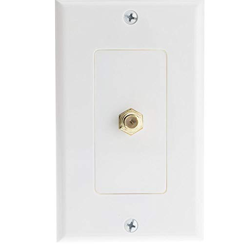 Jack Pin Hd15 (GOWOS White Decora Wall Plate with F-pin Coupler, F-pin Female)