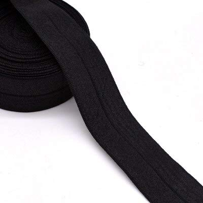 Jammas 1''(25mm) Hair tie Binding Tape Shiny Elastic Ribbon lace Trim Webbing Solid Headwear Handmade Decoration Crafts - (Color: Black 001)