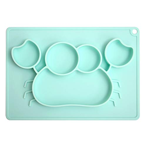Cheaboom Silicone Food Placemat, Silicone Food Tray Babies Placemat Plate Non-Slip Placemat or Kids,Toddlers (Green)
