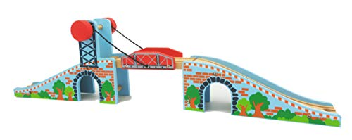 May & Z Wooden Train Tracks Accessories Wood Train Lifting Bridge for Railroad Tracks fits for All Railway Tracks ()