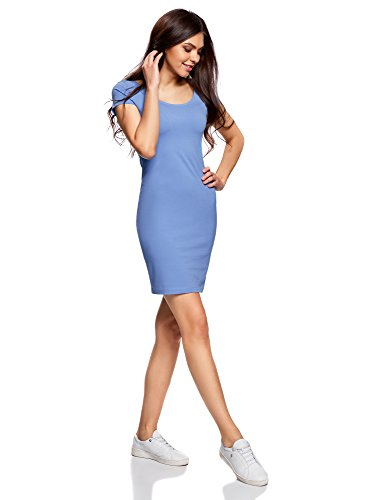 oodji Collection Mujer Vestido Ajustado con Escote Pronunciado en la Espalda Azul (7502N)