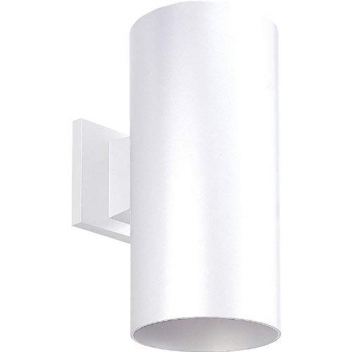 Porcelain Brass Sconce (Progress Lighting P5641-30 6-Inch Cylinder with Heavy Duty Aluminum Construction and Die Cast Wall Bracket Powder Coated Finish UL Listed for Wet Locations, White)