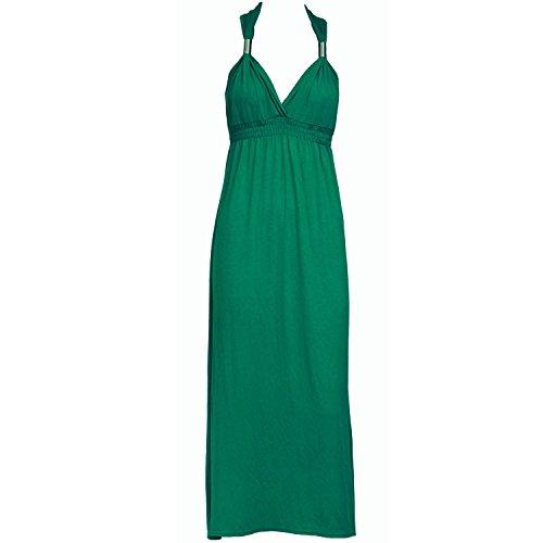 Mary Jane Fashion - Langes Damen Spulen Jersey Maxi Kleid Größe Neu - M/L (EU 40-42), Grün