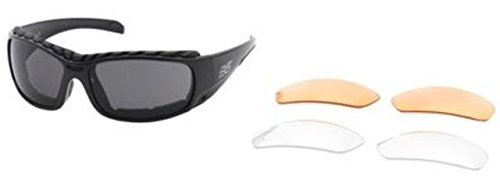 erchangeable Sunglasses w/ Removable Gasket, Black Frame, Smoke (Body Specs Black Sunglasses)