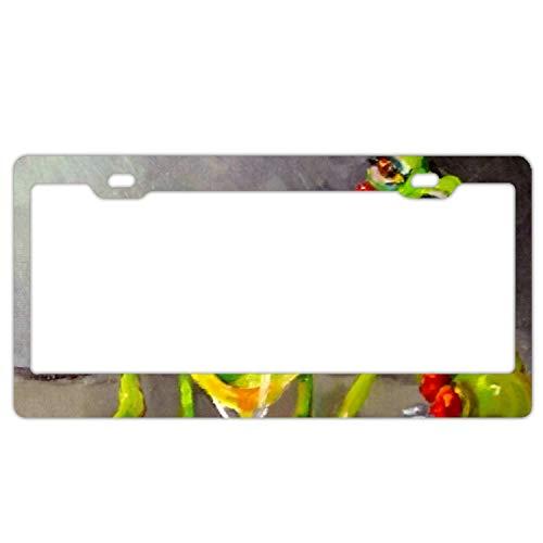 GREDBH Drunk Frog License Plate Frame Funny Novelty License Plate Cover Holder 6 × 12