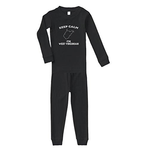 Keep Calm I Am West Virginian WV Cotton Long Sleeve Crewneck Unisex Infant Sleepwear Pajama 2 Pcs Set Top and Pant - Black, 5/6T