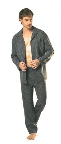 Götzburg Herren Schlafanzug Pyjama schwarz / grau