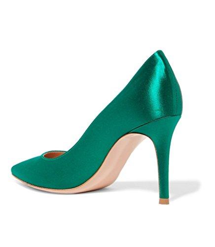 Kolnoo Damenschuhe Satin Pumps Stiletto Spike Heel Slip On Hochzeit Brautkleid Schuhe Blau Satin