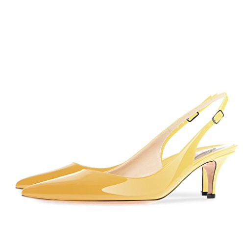 Modemoven Women's Yellow Patent Leather Pointed Toe Slingback Ankle Strap Kitten Heels Pumps Evening Stiletto Shoes - 10.5 M US by Modemoven (Image #3)