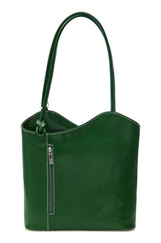 Sin en o llevar cordoncillo para detalle de Libby Tubería para Lujoso mochila legítima Italiana bolso como LiaTalia con hecho Verde damas Piel el z en hombro gwpx6ZU