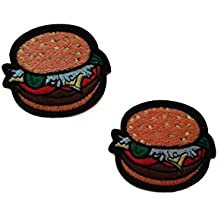 2 pieces BURGER Iron On Patch Fabric Applique Hamburger Food Motif Children Decal 2.4 x 2 inches (6 x 5 cm)