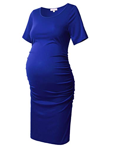 Maternity Bodycon Dress Short Sleeve Ruched Sides Knee Length Dress Royal Blue M