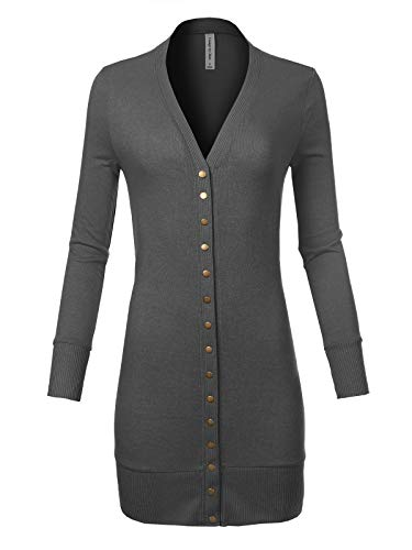 Design by Olivia Women's Classic Snap Button Long Sleeve Thigh Length Knit Cardigan Ash Grey XL ()