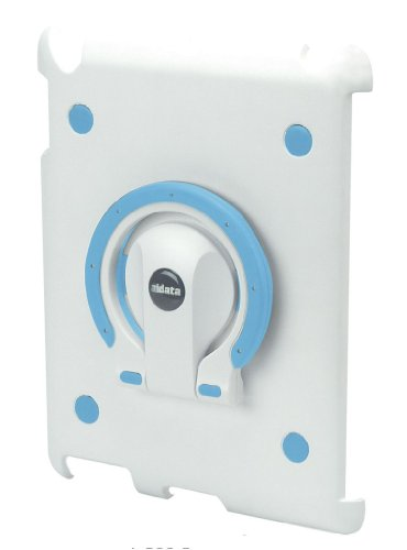 Aidata ISP202WN iPadStand Multi-function Stand, White Shell with White and Blue Ring For use with iPad 2; iPadStand can spin smoothly with angle adjustments between vertical and horizontal views